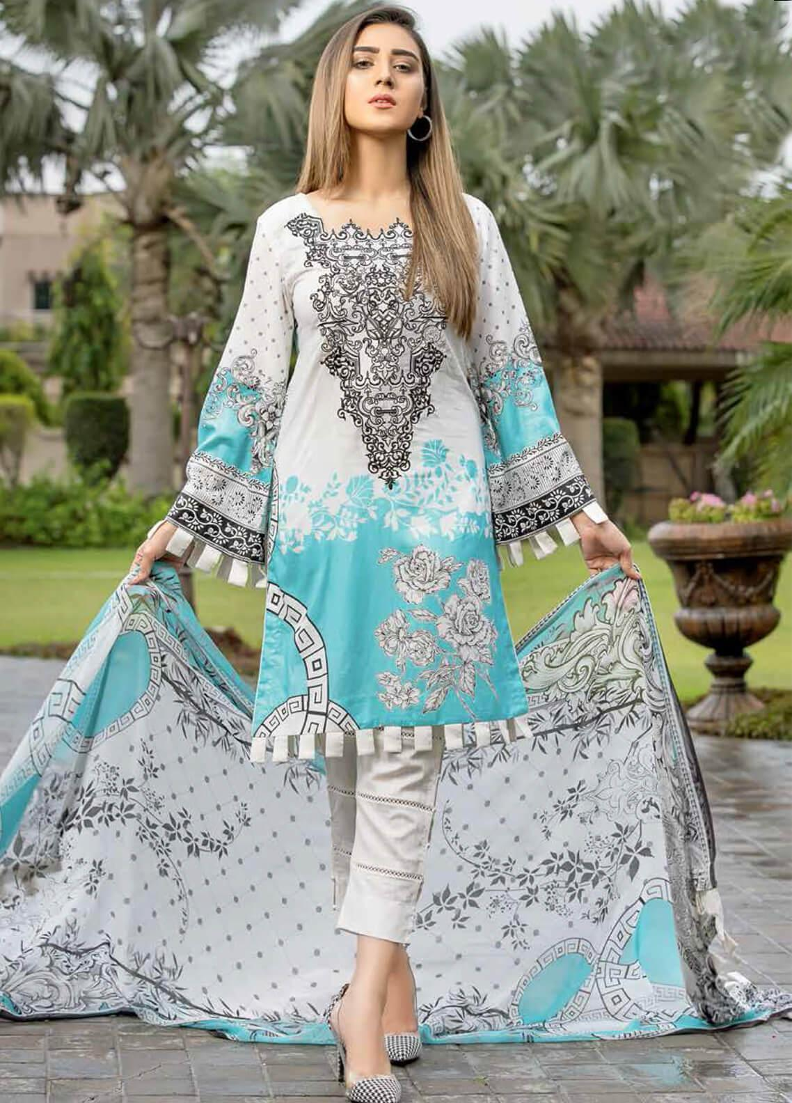 Star Embroidered Lawn Unstitched 3 Piece Suit STR19E 114B - Eid Collection