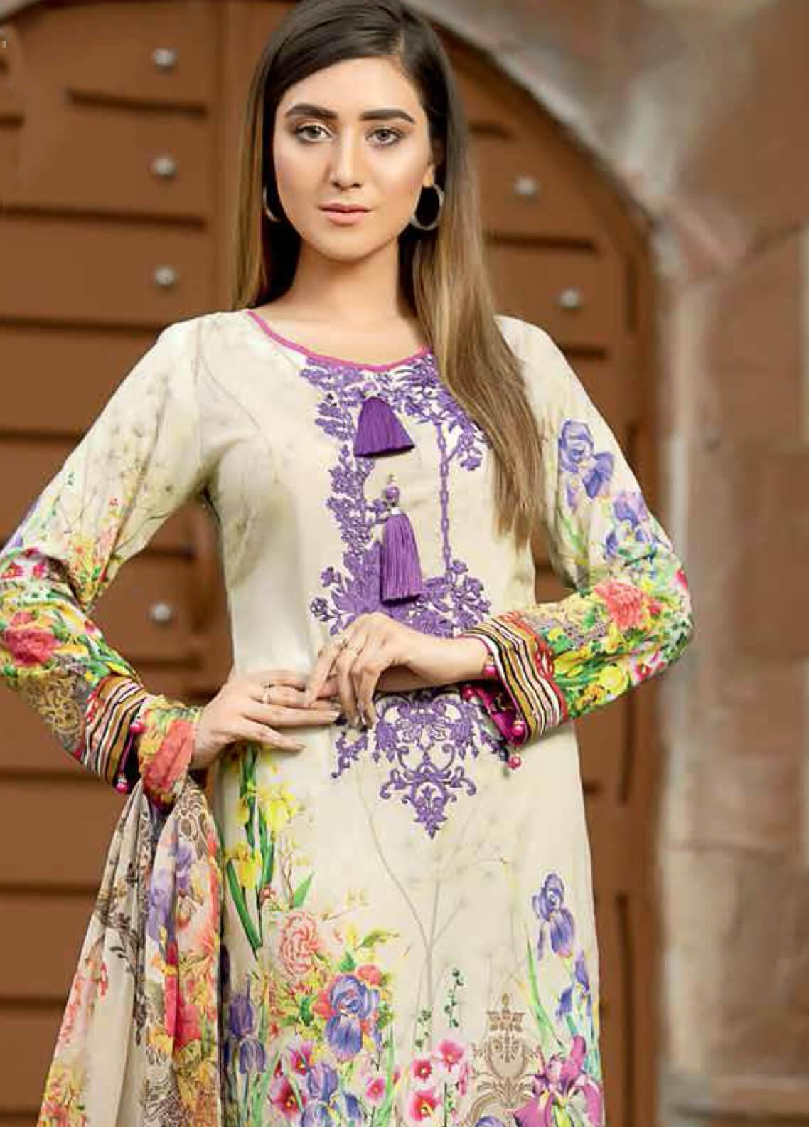 Star Embroidered Lawn Unstitched 3 Piece Suit STR19E 115A - Eid Collection