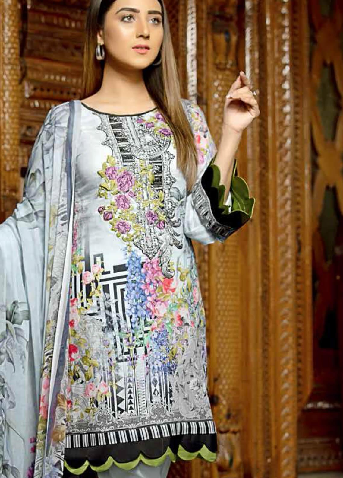 Star Embroidered Lawn Unstitched 3 Piece Suit STR19E 117A - Eid Collection