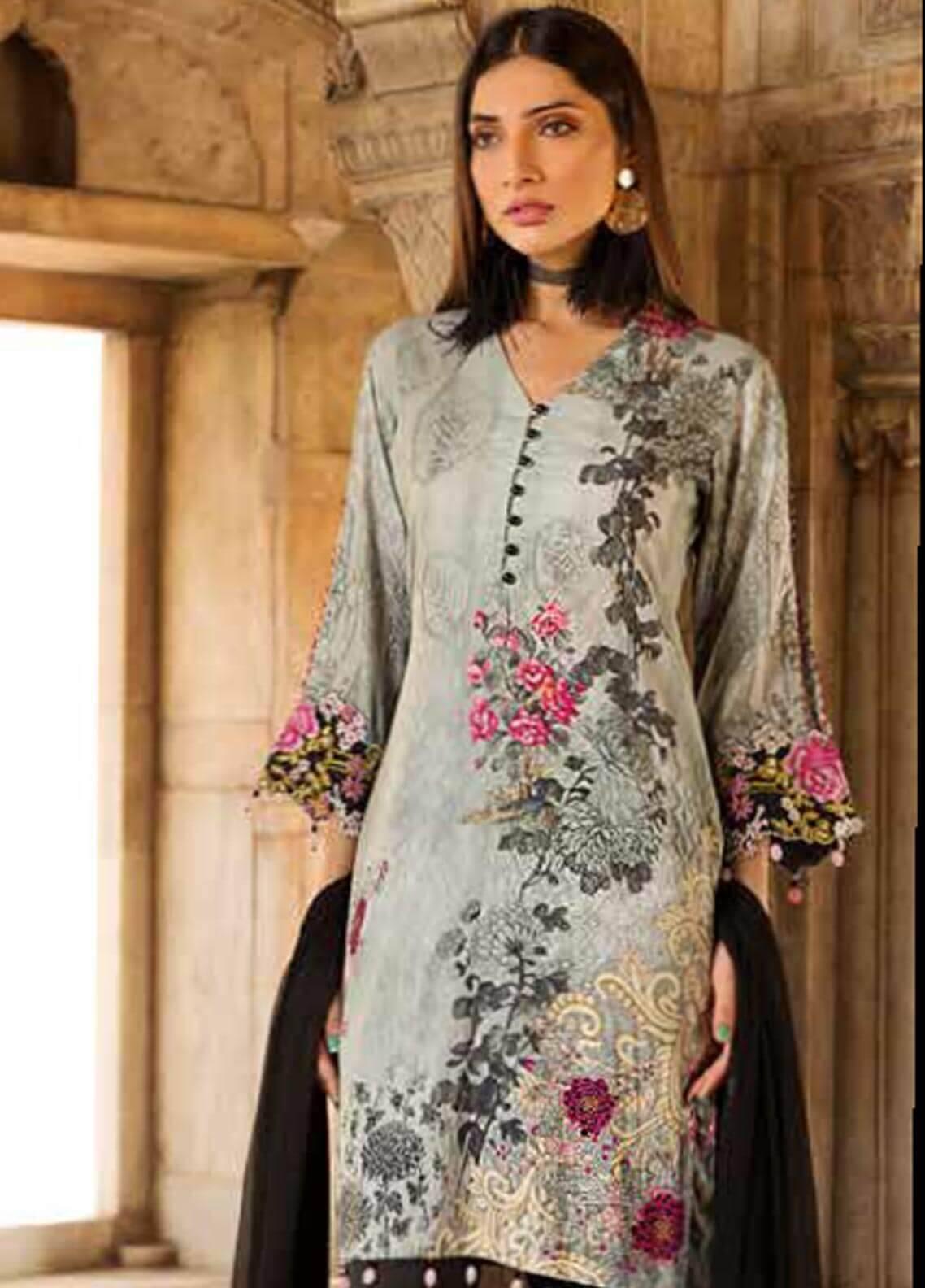 Al Zohaib Embroidered Cotton Silk Unstitched 3 Piece Suit AZ18CS 04 - Premium Collection