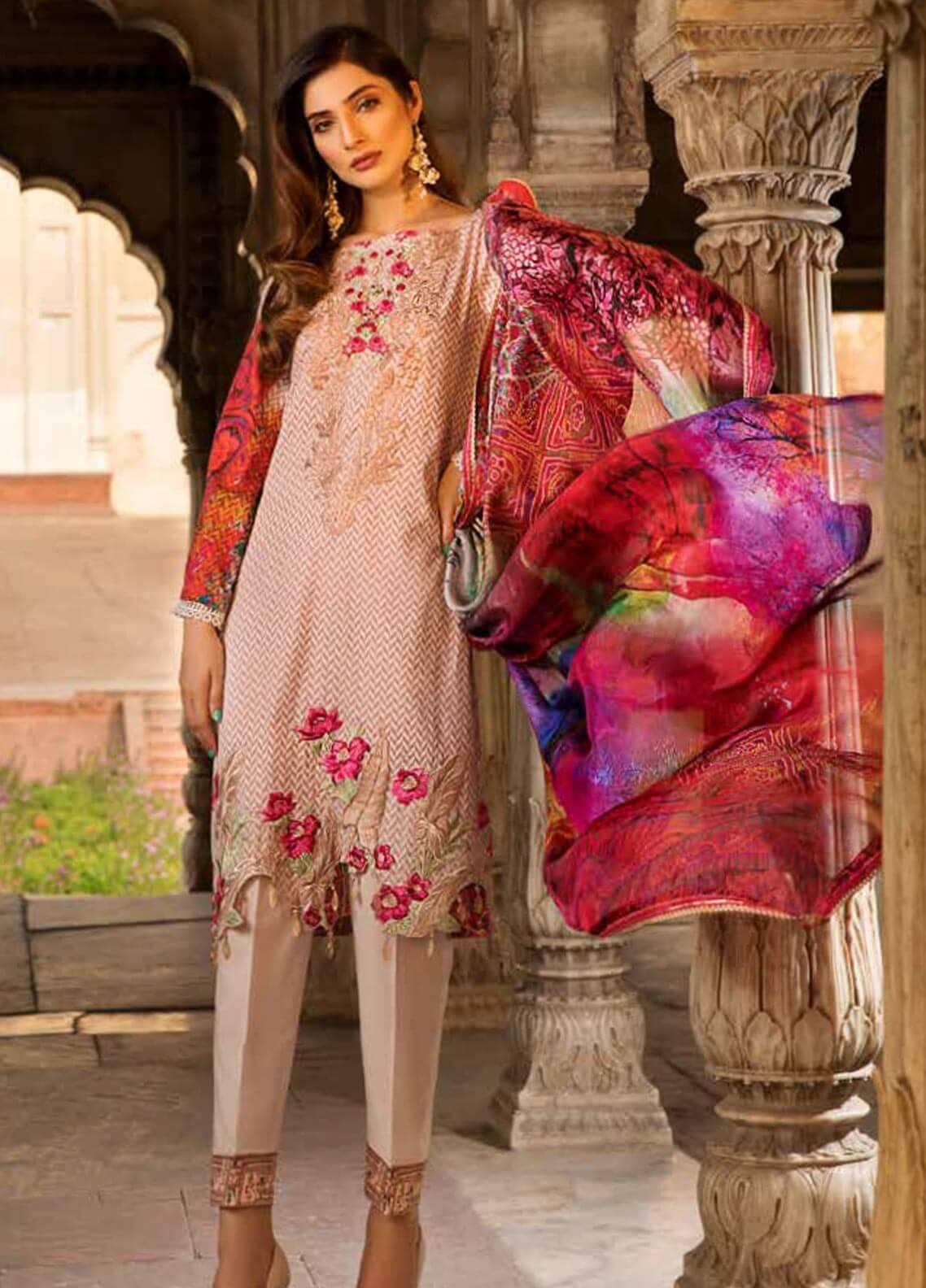 Al Zohaib Embroidered Cotton Silk Unstitched 3 Piece Suit AZ18CS 05 - Premium Collection