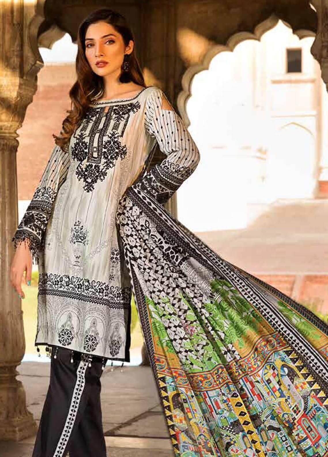 Al Zohaib Embroidered Cotton Silk Unstitched 3 Piece Suit AZ18CS 06 - Premium Collection