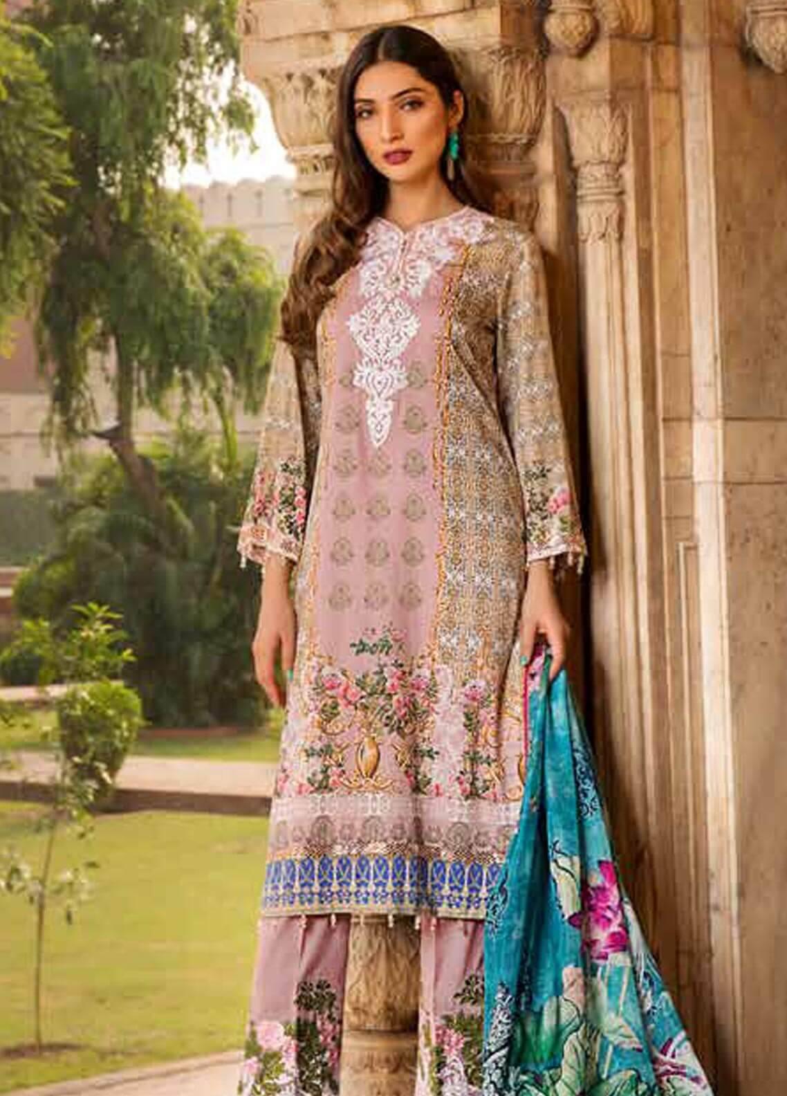 Al Zohaib Embroidered Cotton Silk Unstitched 3 Piece Suit AZ18CS 08 - Premium Collection