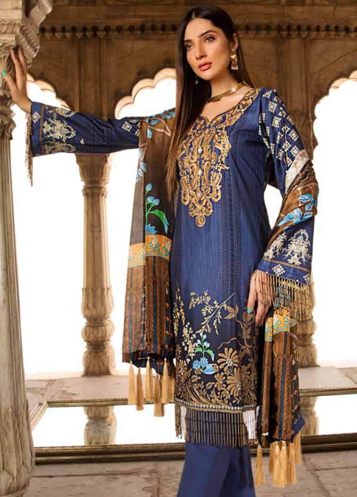 Al Zohaib Embroidered Cotton Silk Unstitched 3 Piece Suit AZ18CS 09 - Premium Collection