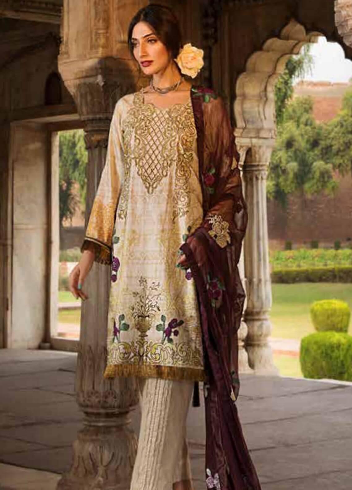 Al Zohaib Embroidered Cotton Silk Unstitched 3 Piece Suit AZ18CS 11 - Premium Collection