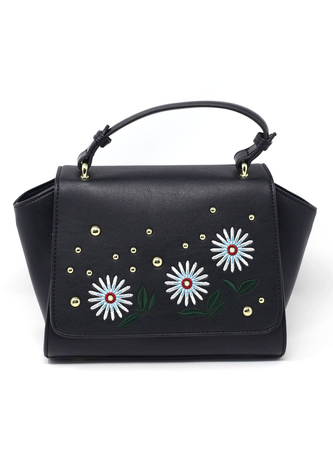 Susen PU Leather Satchels Bag for Women - Black with Flower Pattern