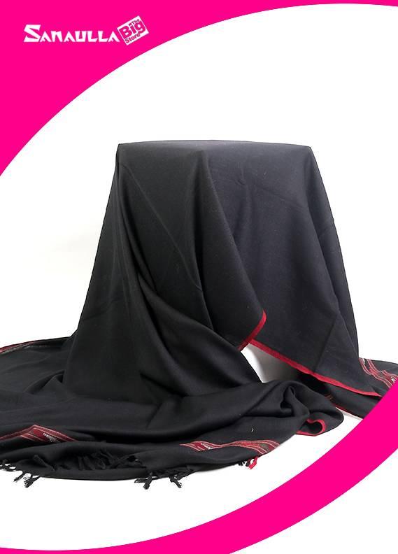 Black Plain Pashmina Shawls for men - SW 241