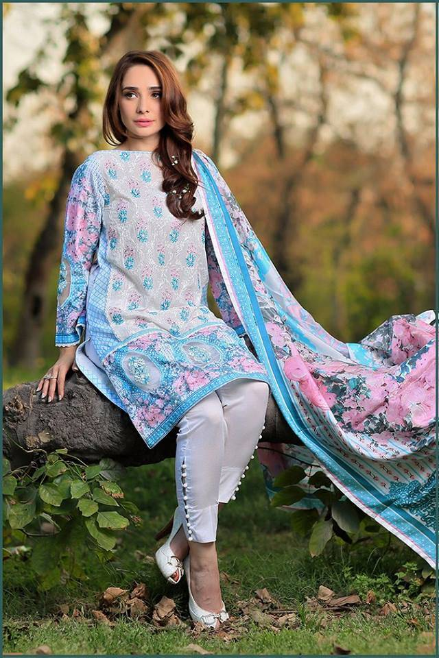 Sonia Azhar Embroidered Lawn Unstitched 3 Piece Suit SZ16E Blushing Bud