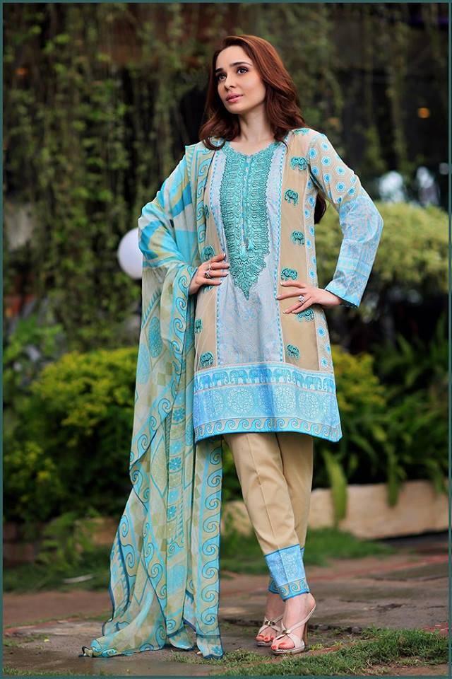 Sonia Azhar Embroidered Lawn Unstitched 3 Piece Suit SZ16E Jade Elephant