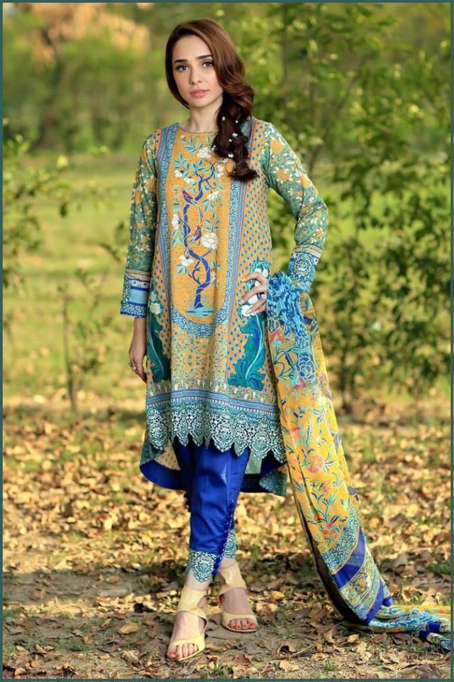 Sonia Azhar Embroidered Lawn Unstitched 3 Piece Suit SZ16E Peacock Dance