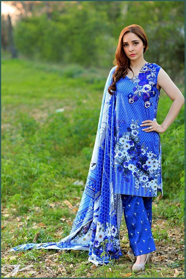 Sonia Azhar Embroidered Lawn Unstitched 3 Piece Suit SZ16E Sapphire Swan