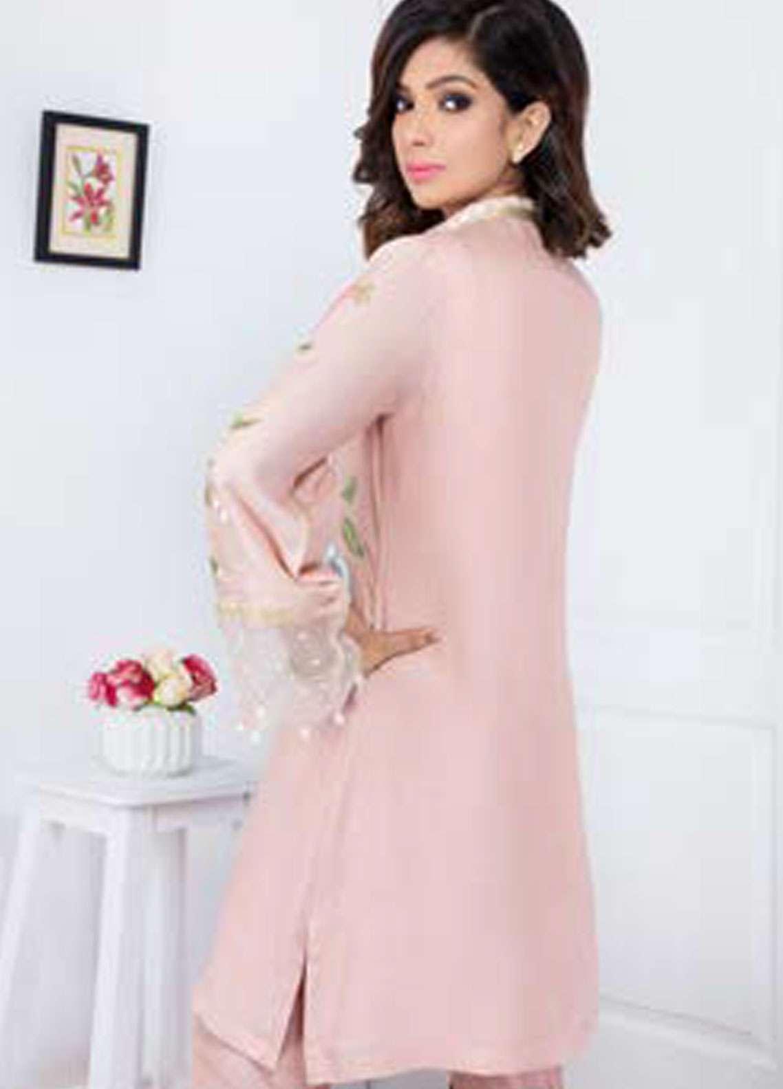Takhleek By Hijab Omer Embroidered Viscose Stitched Kurtis Char Bagh TK-1803 Pink