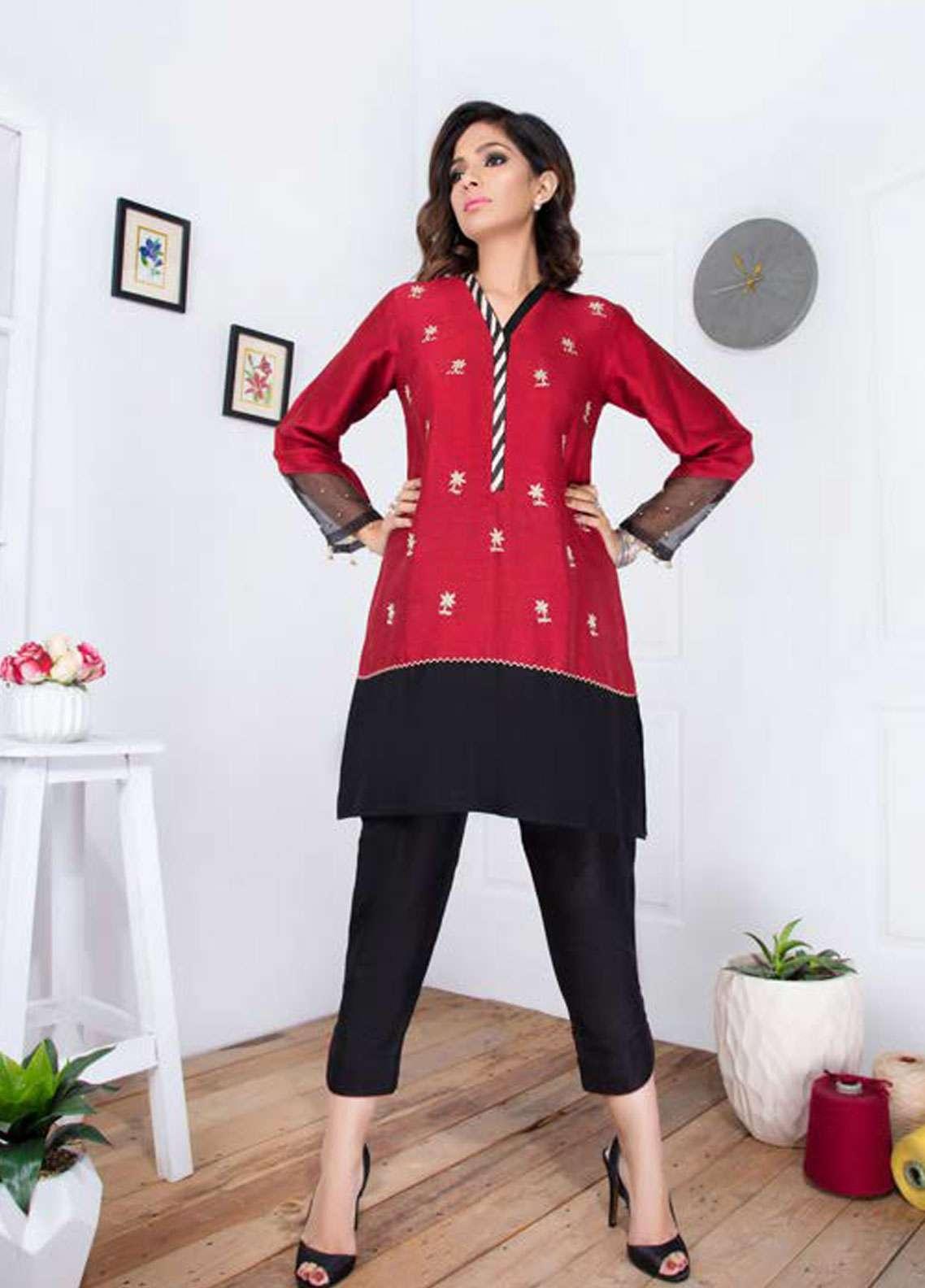 Takhleek By Hijab Omer Embroidered Raw Silk Stitched Kurtis Tara TK-1809 Red & Black
