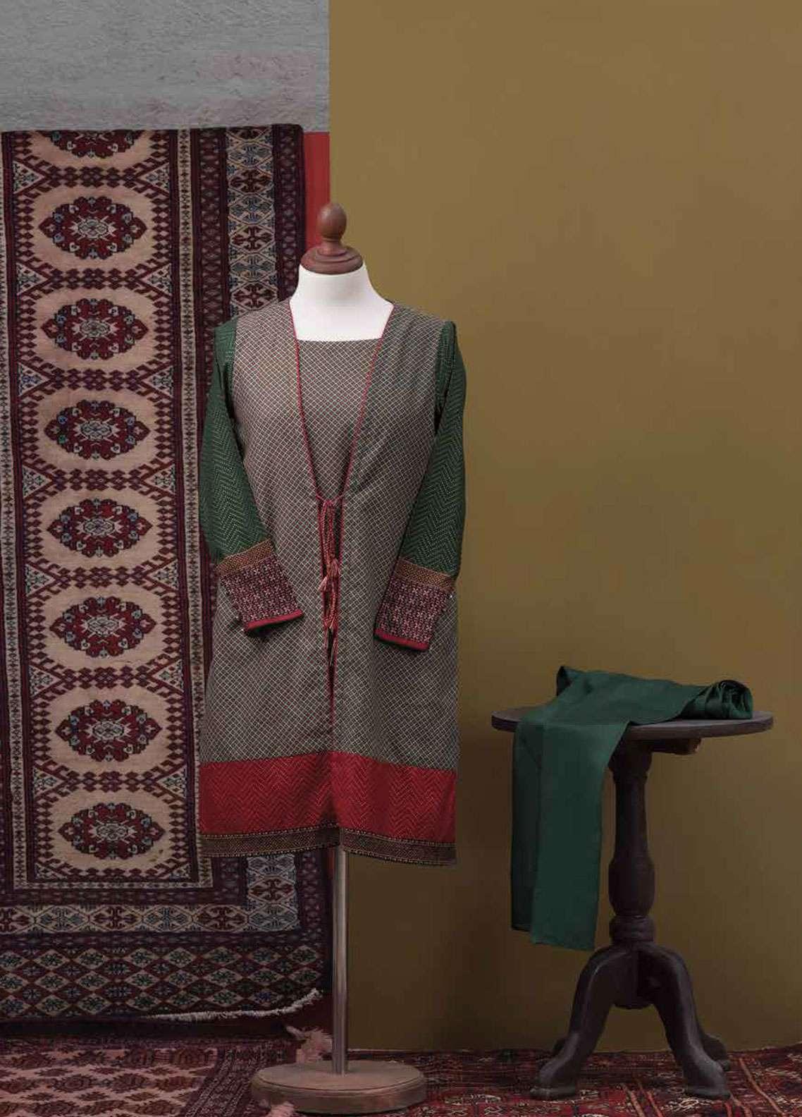 Tarzz Printed Cotton Satin Unstitched 2 Piece Suit TZ19L 28 FOLIATE RUSTLE - Spring / Summer Collection
