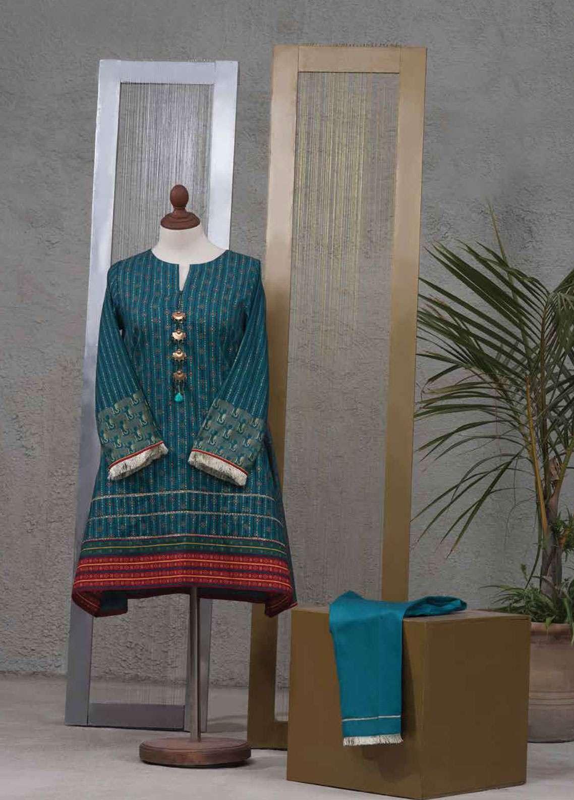 Tarzz Printed Cotton Satin Unstitched 2 Piece Suit TZ19L 30 SPICE MIST - Spring / Summer Collection