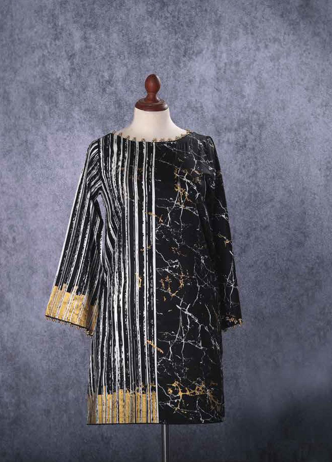 Tarzz Printed Cotton Unstitched Kurties TZ19L 53 IRON BLACK - Mid Summer Collection