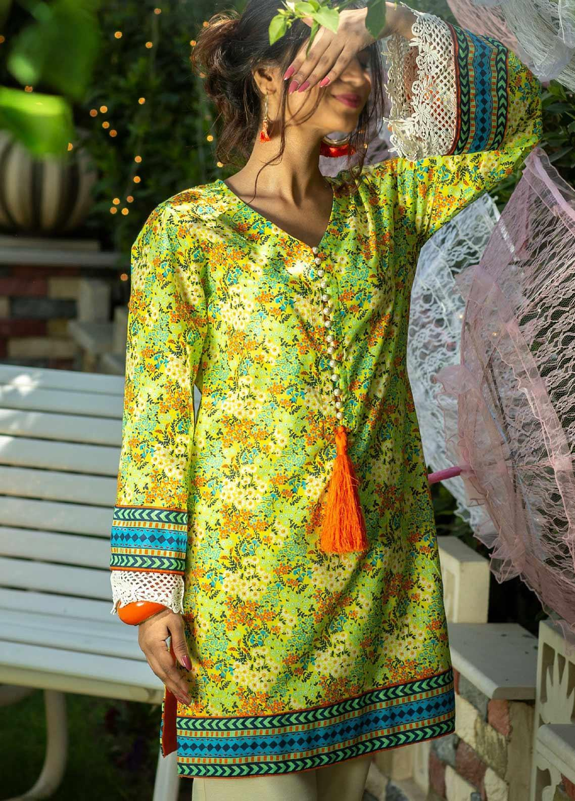 Tarzz Printed Lawn Unstitched Kurties TRZ20SL-2 L20-37 - Spring / Summer Collection