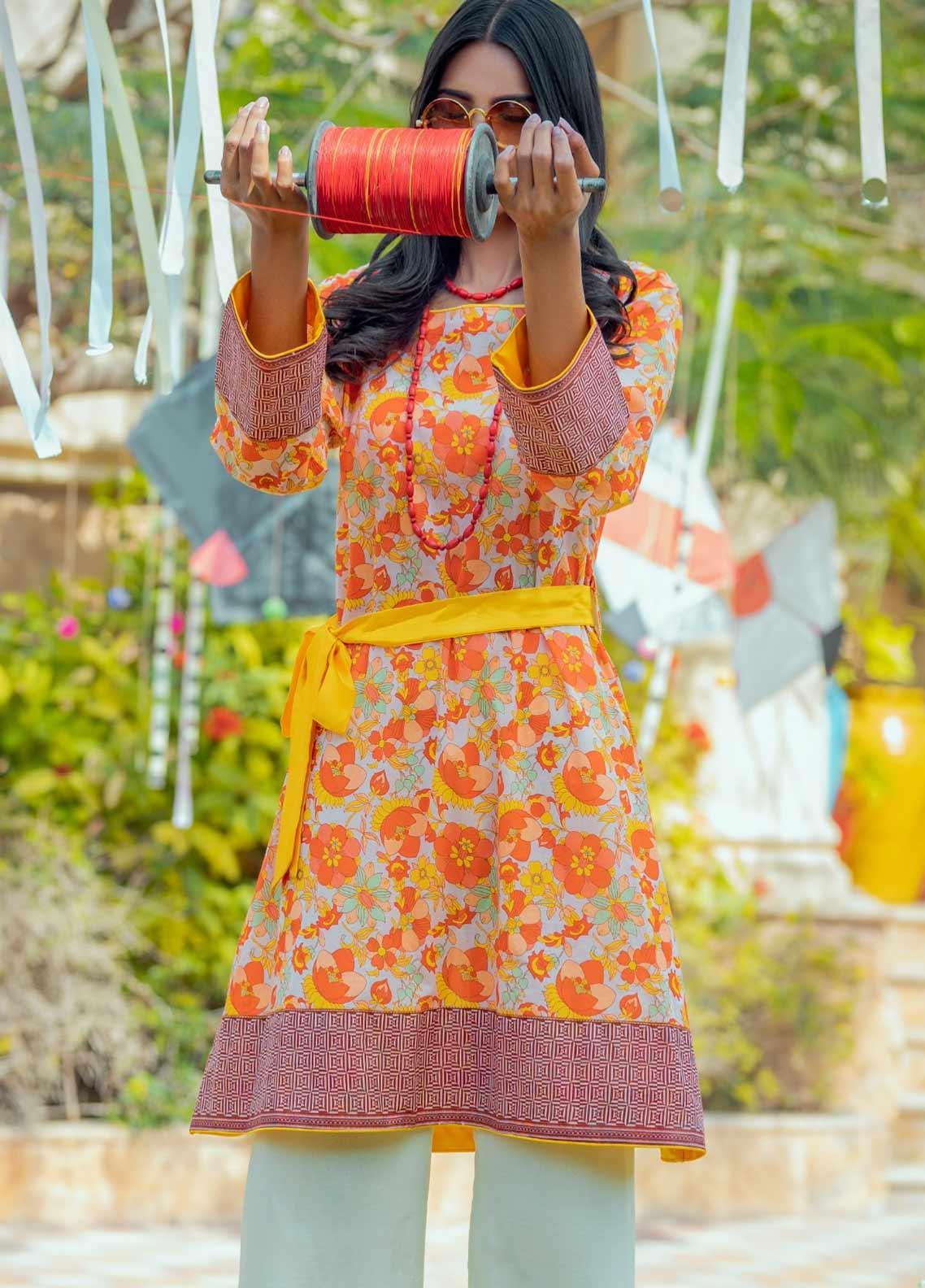 Tarzz Printed Lawn Unstitched Kurties TRZ20SL-2 L20-44 - Spring / Summer Collection