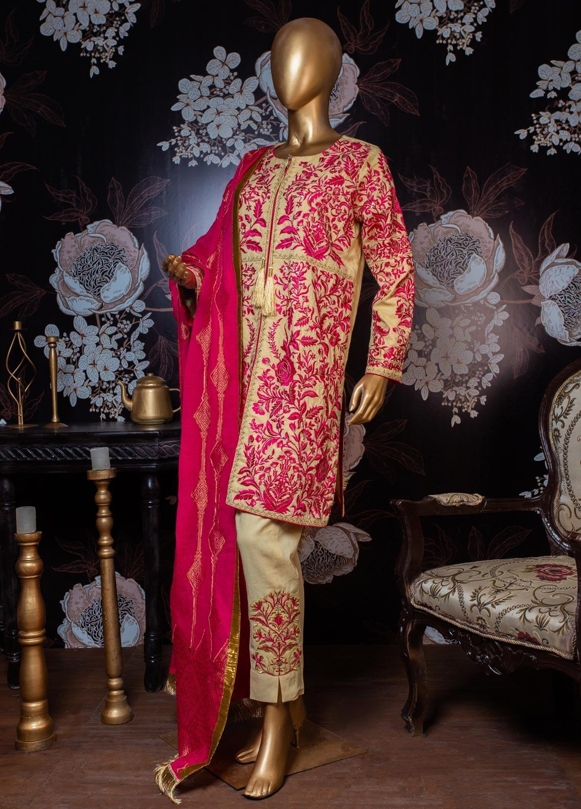 Tasneem Shamim Embroidered Dobby Unstitched 3 Piece Suit TS19RKS CA-01 - Festive Collection