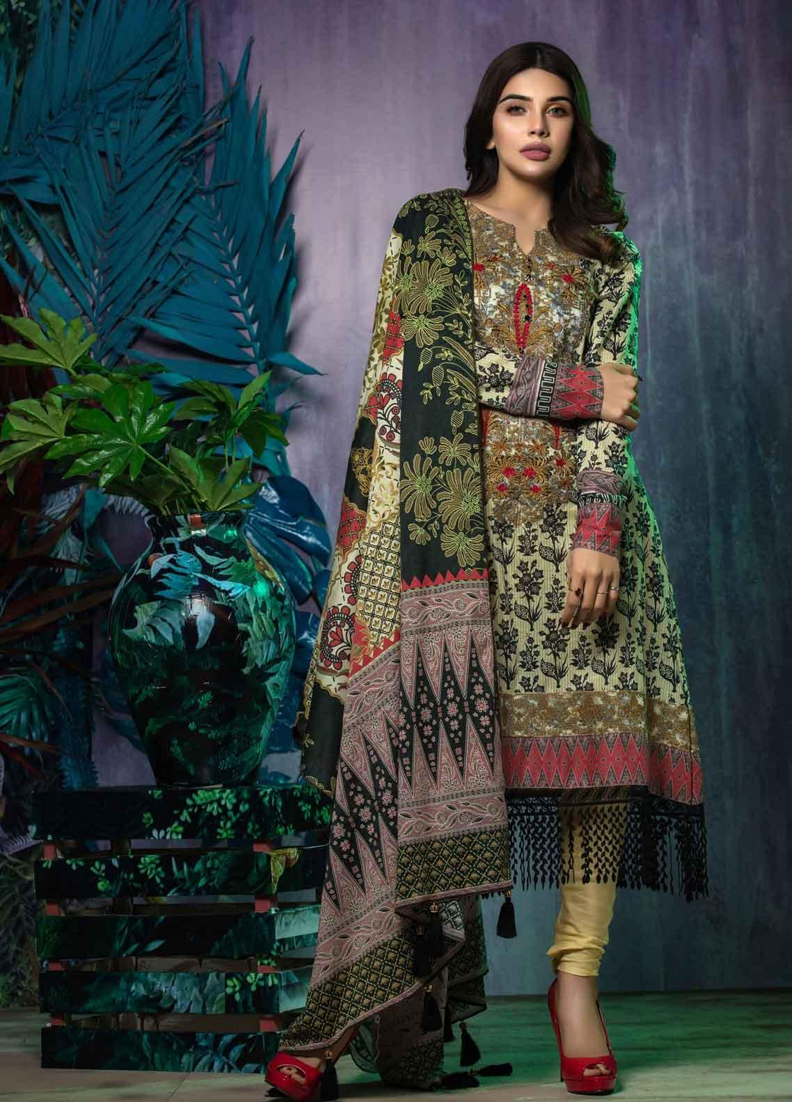 Tatheer Embroidered Lawn Unstitched 3 Piece Suit THT19L 01 - Spring / Summer Collection