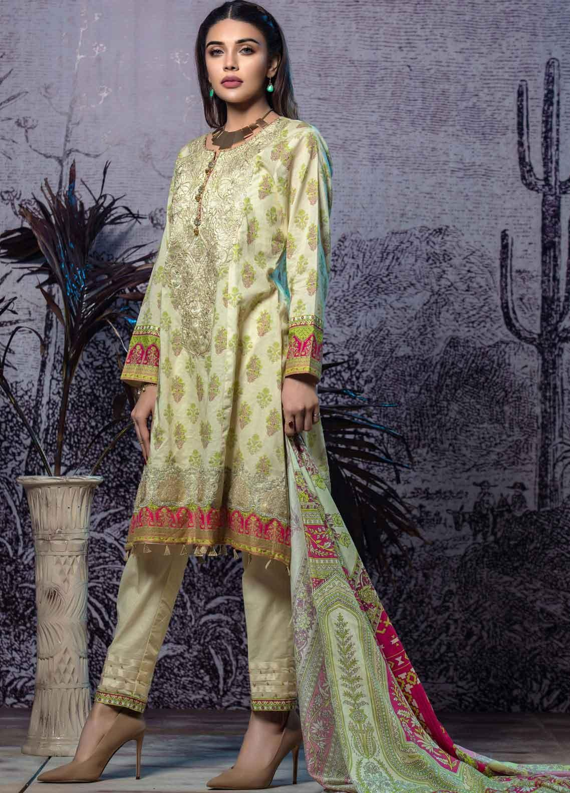Tatheer Embroidered Lawn Unstitched 3 Piece Suit THT19L 02 - Spring / Summer Collection