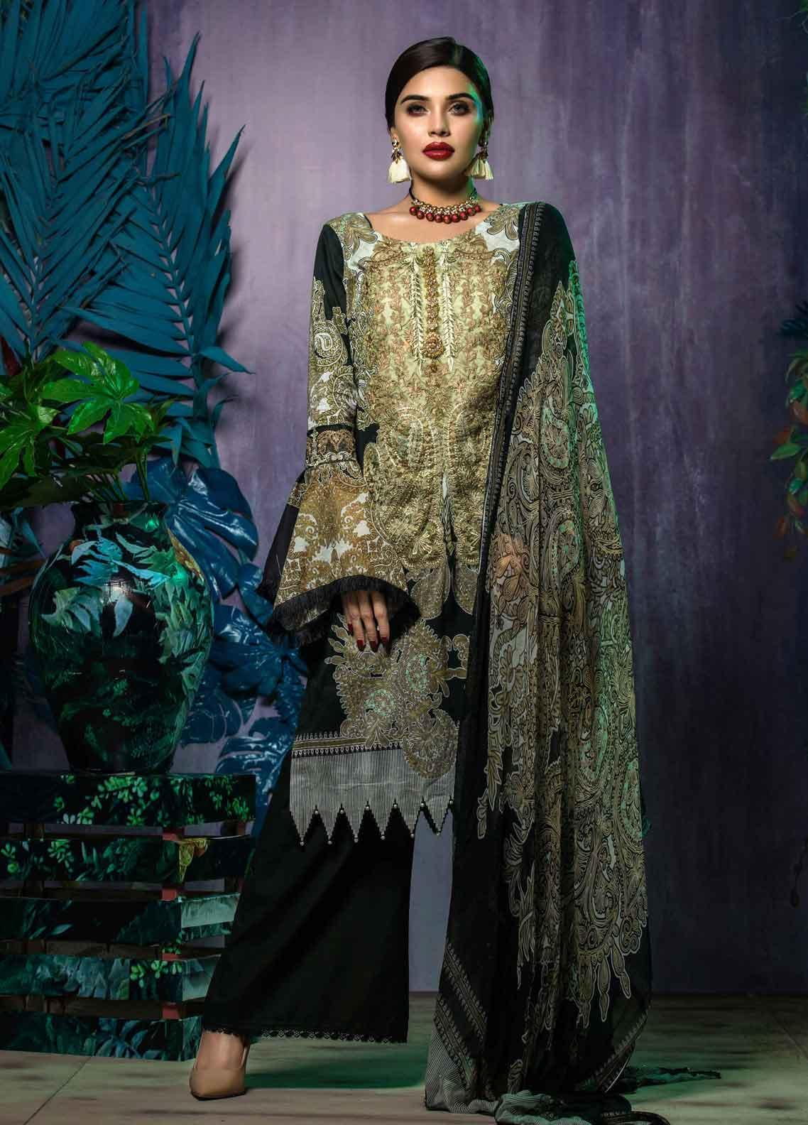 Tatheer Embroidered Lawn Unstitched 3 Piece Suit THT19L 04 - Spring / Summer Collection