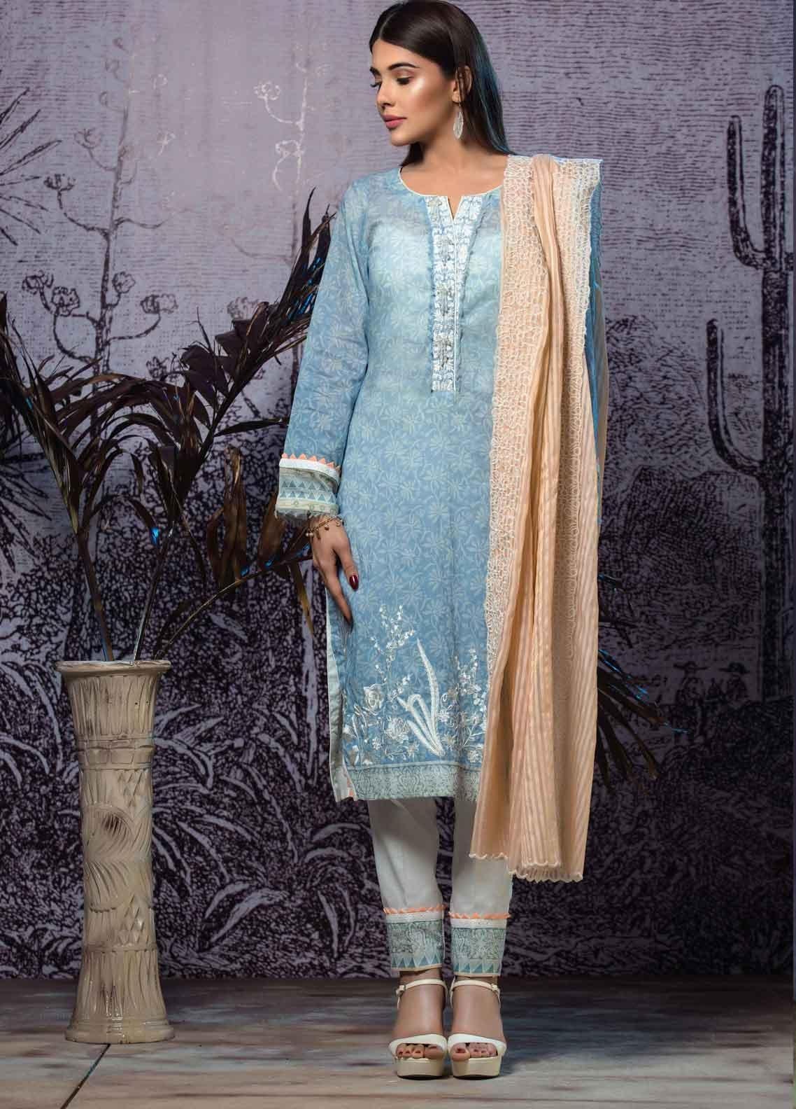 Tatheer Embroidered Lawn Unstitched 3 Piece Suit THT19L 09 - Spring / Summer Collection