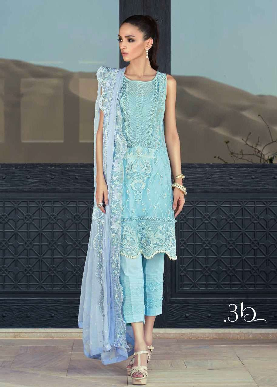 Tena Durrani Embroidered Silk Unstitched 3 Piece Suit TD17W 3B