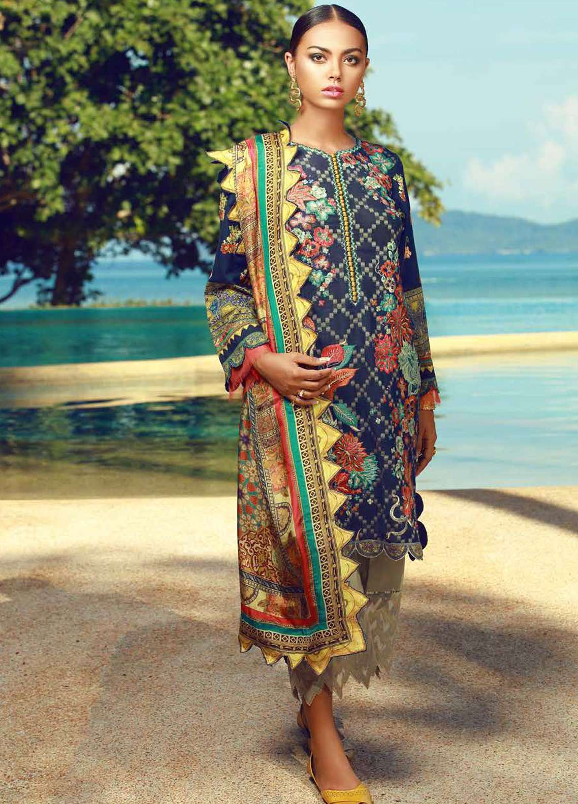 Tena Durrani Embroidered Lawn Unstitched 3 Piece Suit TD18F 02 - Eid ul Azha Collection