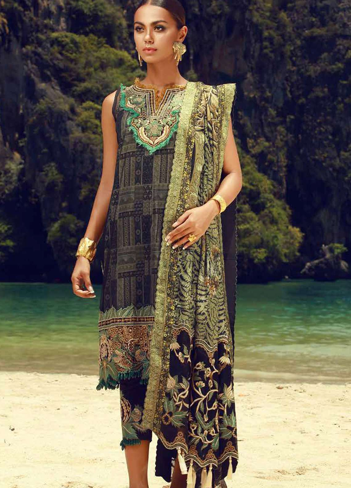 Tena Durrani Embroidered Lawn Unstitched 3 Piece Suit TD18F 04 - Eid ul Azha Collection