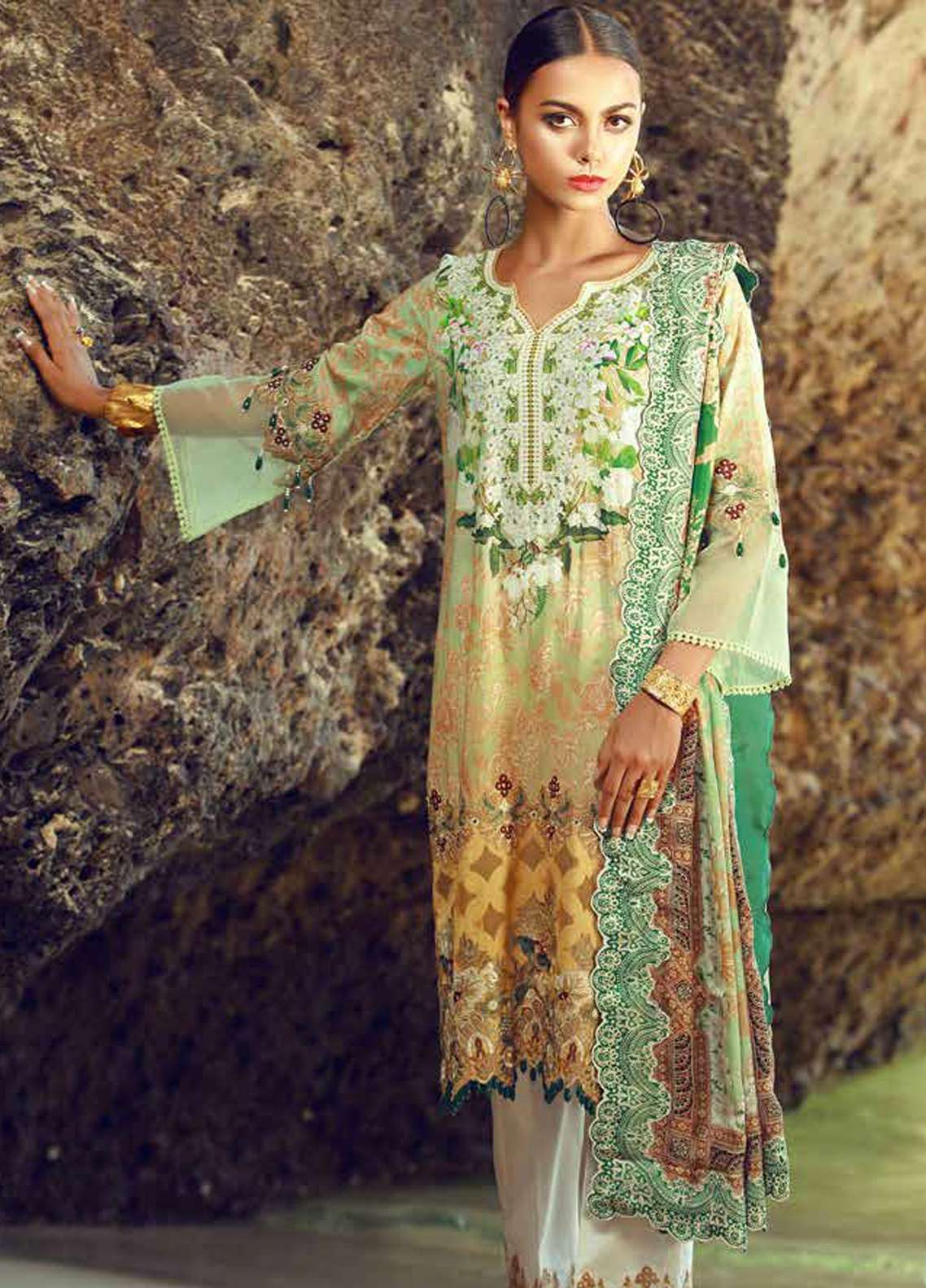 Tena Durrani Embroidered Lawn Unstitched 3 Piece Suit TD18F 09 - Eid ul Azha Collection