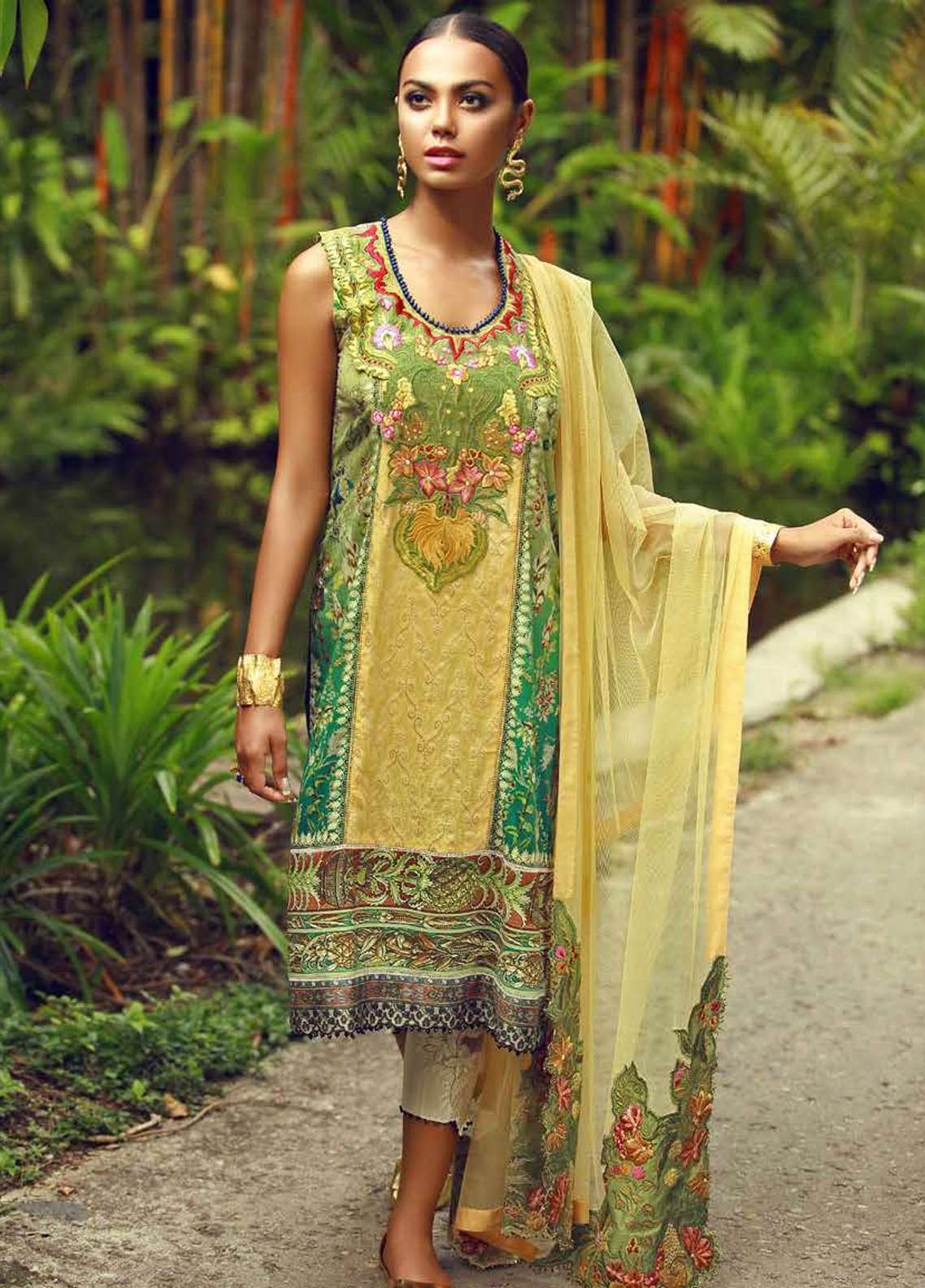 Tena Durrani Embroidered Lawn Unstitched 3 Piece Suit TD18F 12 - Eid ul Azha Collection