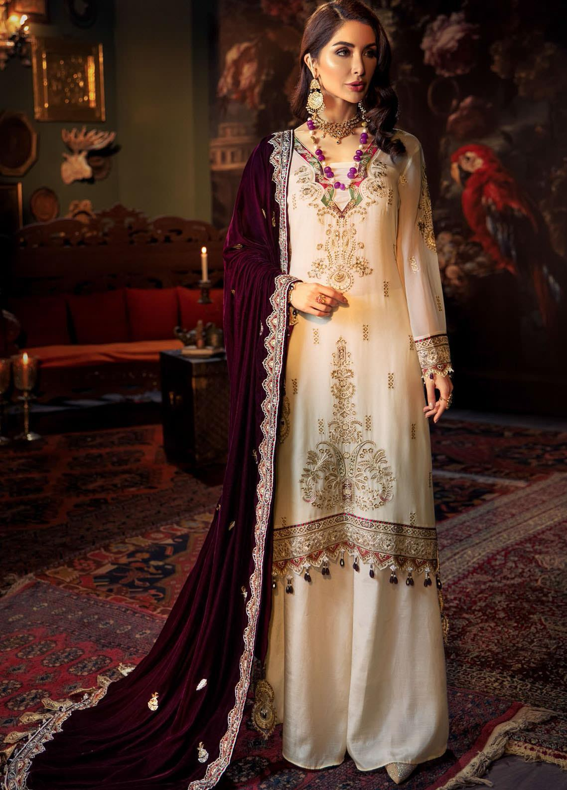 Tehzeeb by Mohagni Embroidered Chiffon Unstitched 3 Piece Suit MO20TV 01 - Winter Collection