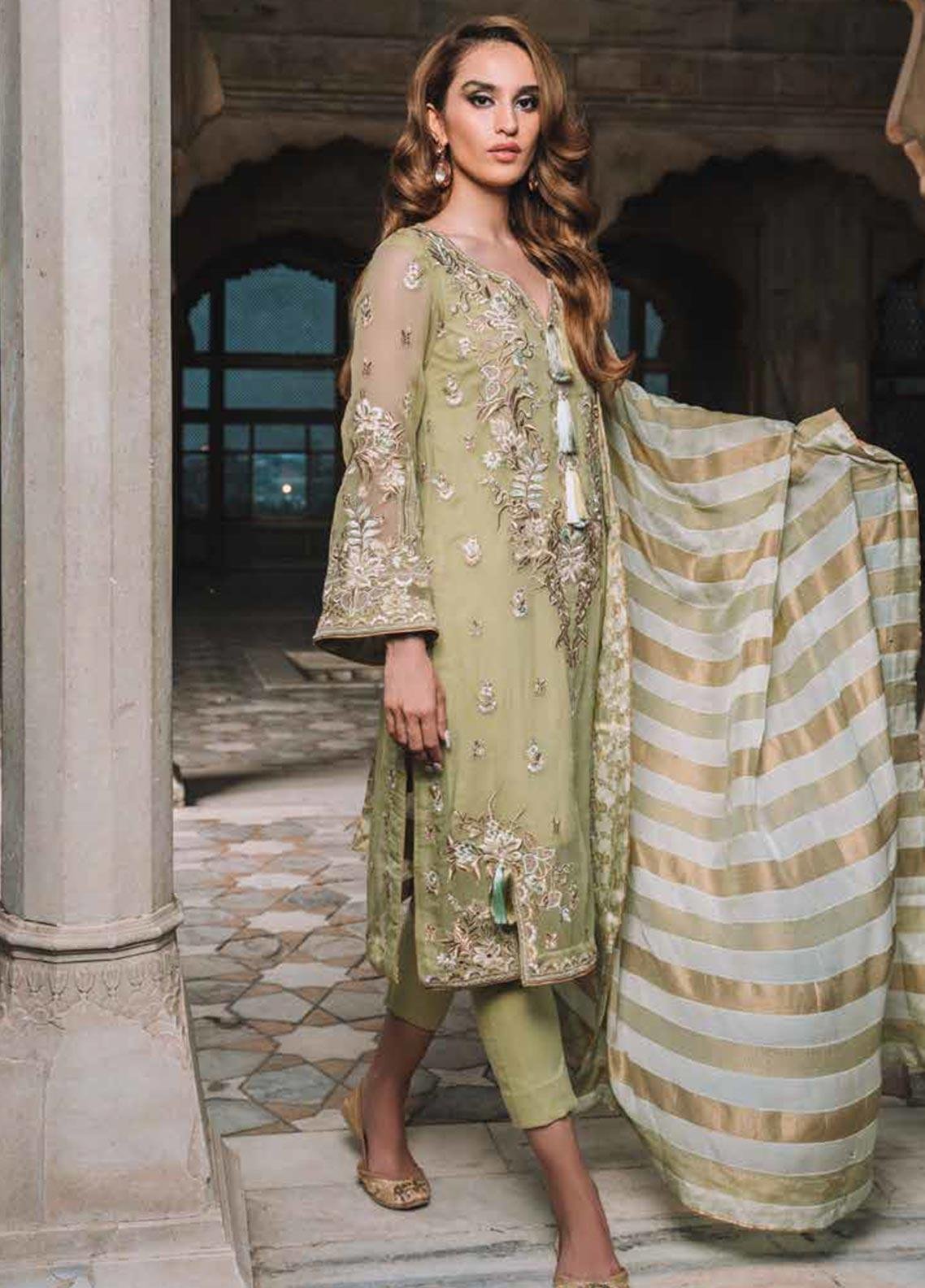 Tena Durrani Embroidered Chiffon Unstitched 3 Piece Suit TD19F 11 - Formal Collection
