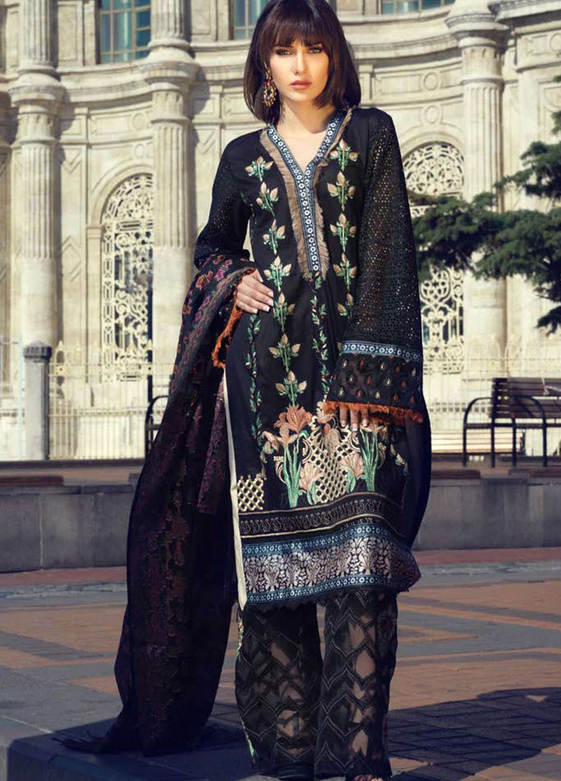 Tena Durrani Embroidered Lawn Unstitched 3 Piece Suit TD19L 02 DELKASH - Spring / Summer Collection
