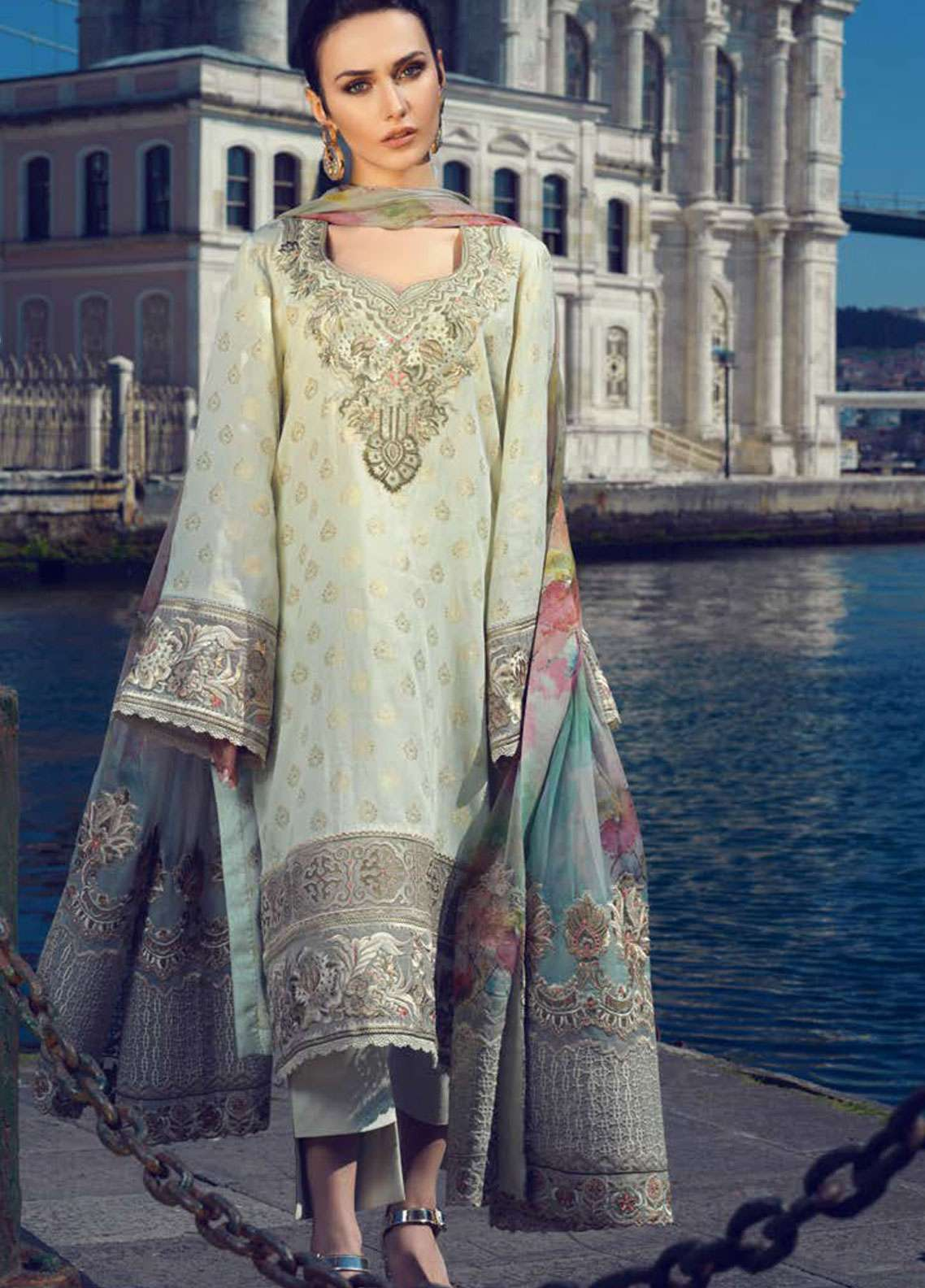Tena Durrani Embroidered Jacquard Unstitched 3 Piece Suit TD19L 03 LIFAA - Spring / Summer Collection