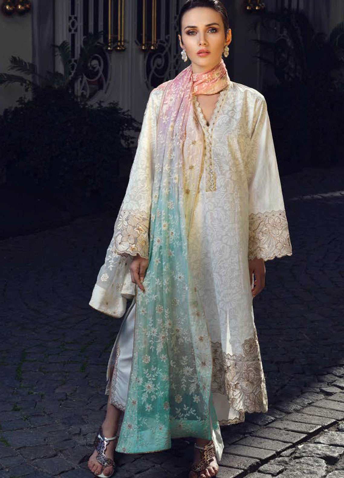 Tena Durrani Embroidered Lawn Unstitched 3 Piece Suit TD19L 05 LENA - Spring / Summer Collection