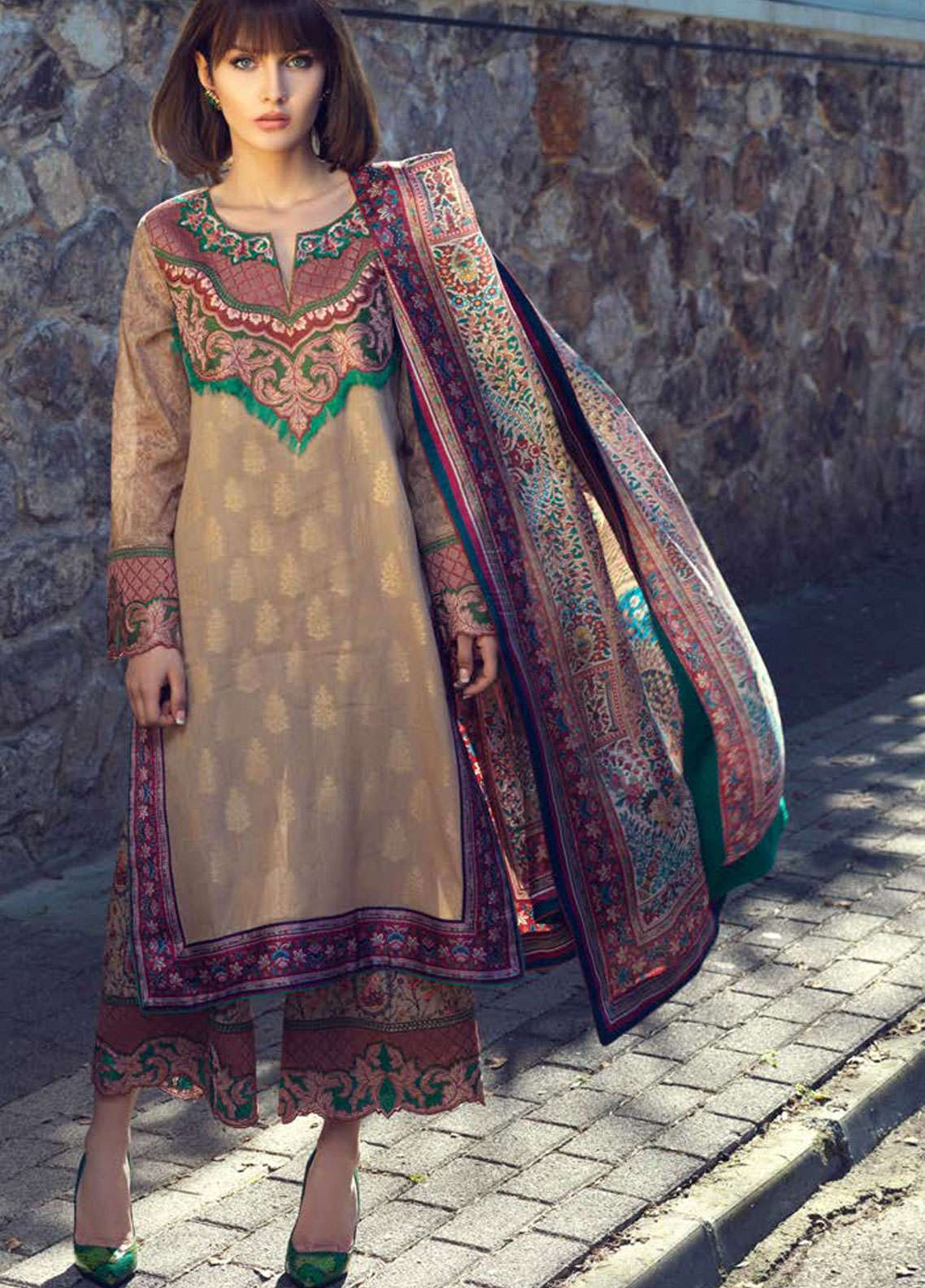 Tena Durrani Embroidered Jacquard Unstitched 3 Piece Suit TD19L 11 MIRAJ - Spring / Summer Collection