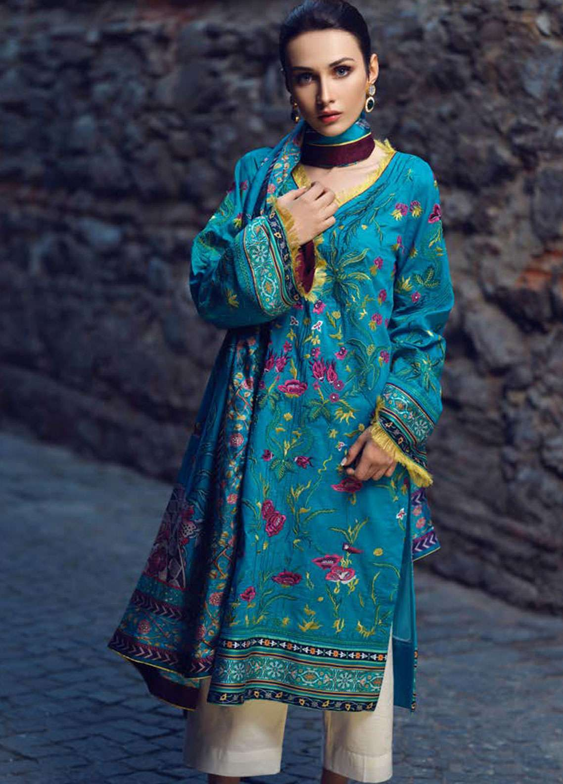 Tena Durrani Embroidered Lawn Unstitched 3 Piece Suit TD19L 16 FLEUR-DE-LIS - Spring / Summer Collection