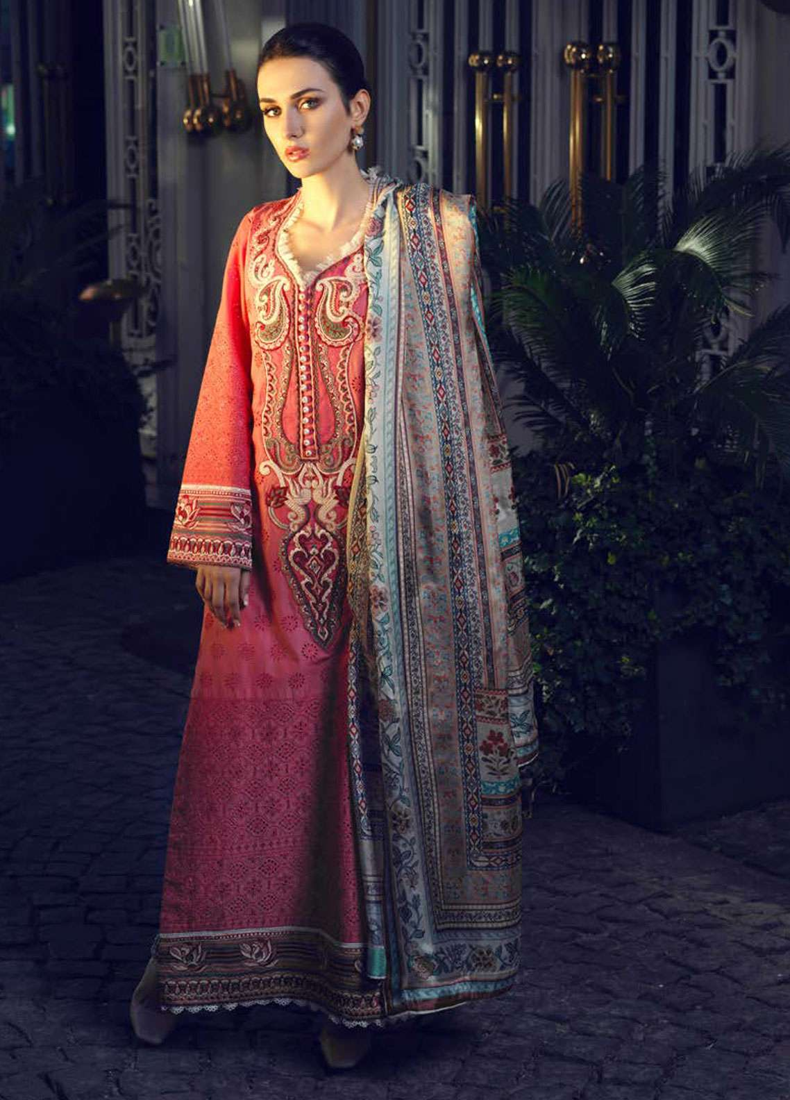 Tena Durrani Embroidered Lawn Unstitched 3 Piece Suit TD19L 4B DINA - Spring / Summer Collection