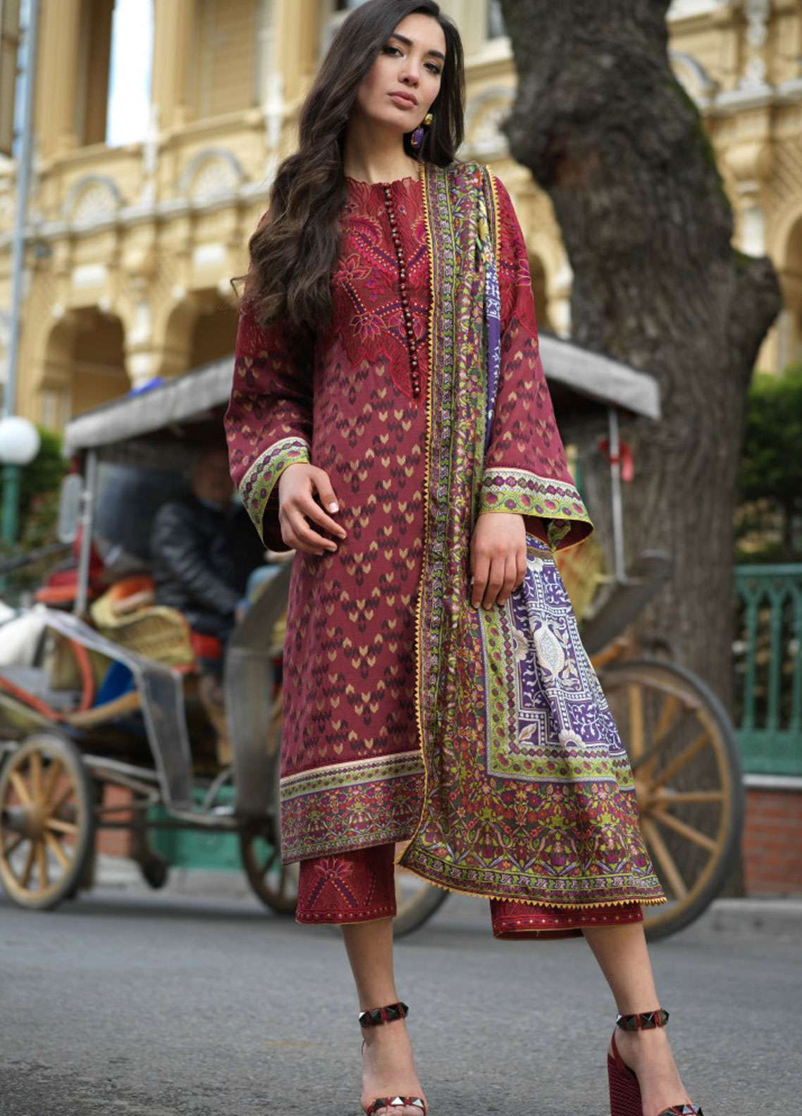 Tena Durrani Embroidered Lawn Unstitched 3 Piece Suit TD19L 6B MARJAN - Spring / Summer Collection