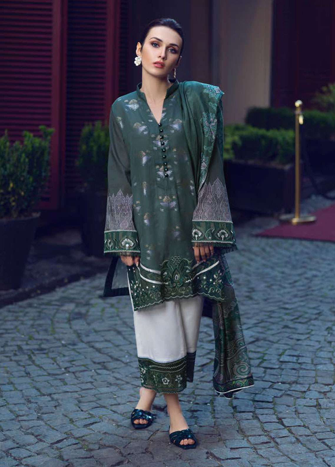 Tena Durrani Embroidered Jacquard Unstitched 3 Piece Suit TD19L 7A MATRESHKA - Spring / Summer Collection