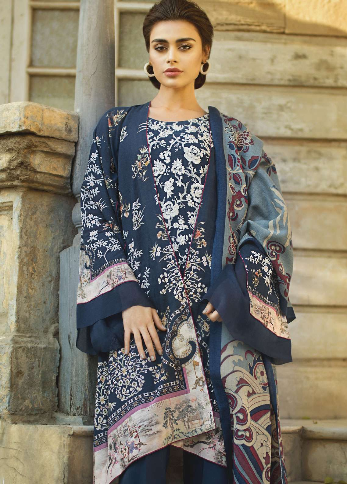 Tena Durrani Embroidered Cotel Linen Unstitched 3 Piece Suit TD18W 07 - Winter Luxury Collection