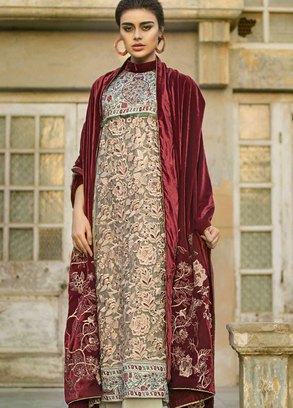 Tena Durrani Embroidered Linen Unstitched 3 Piece Suit TD18W 1B - Winter Luxury Collection