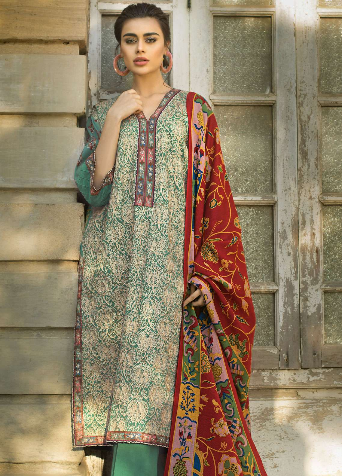 Tena Durrani Embroidered Cotel Linen Unstitched 3 Piece Suit TD18W 6B - Winter Luxury Collection