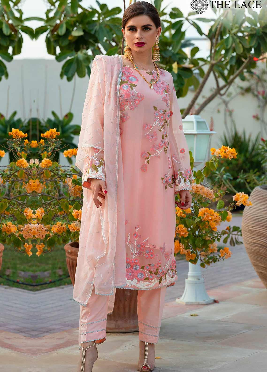 The Lace Embroidered Chiffon Stitched 3 Piece Suit 09 Belle Rose