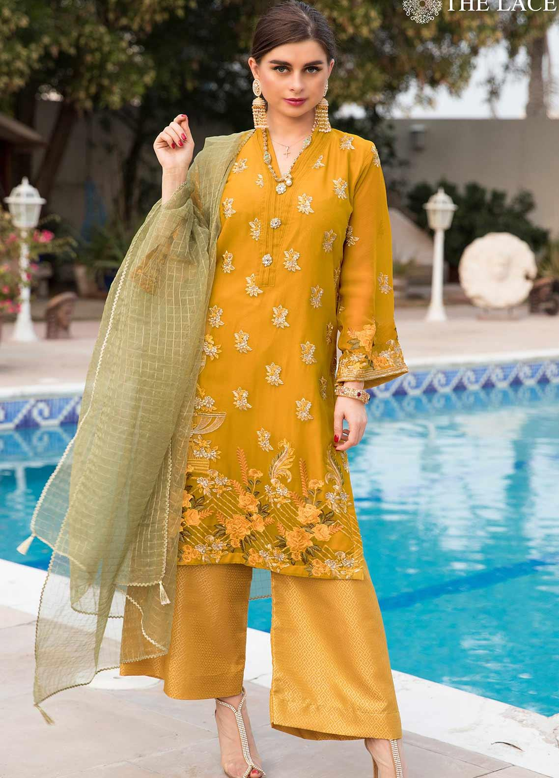 The Lace Embroidered Chiffon Stitched 3 Piece Suit 10 Dreang Dhaani