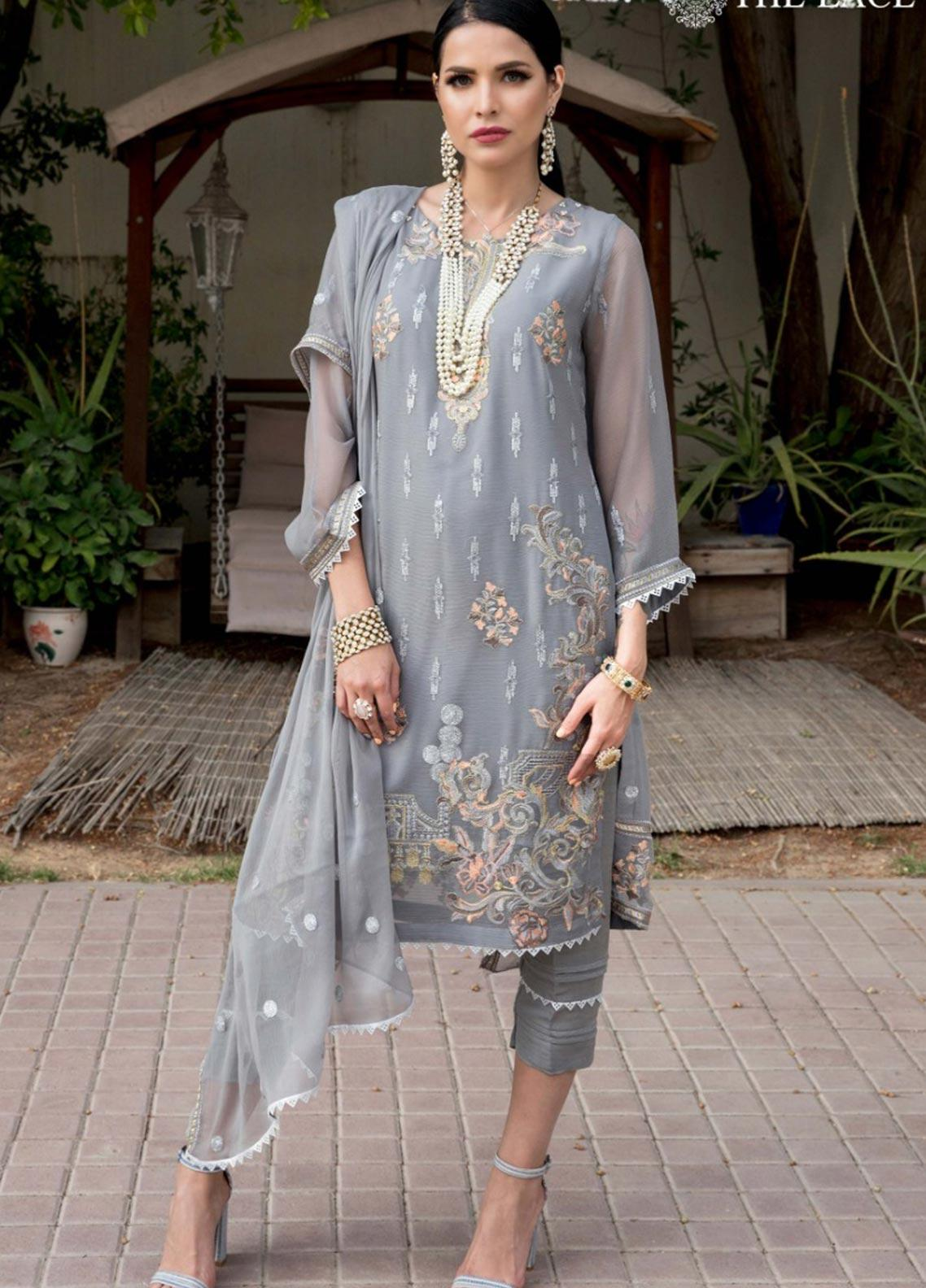 The Lace Embroidered Chiffon Stitched 3 Piece Suit 29 Cheryal