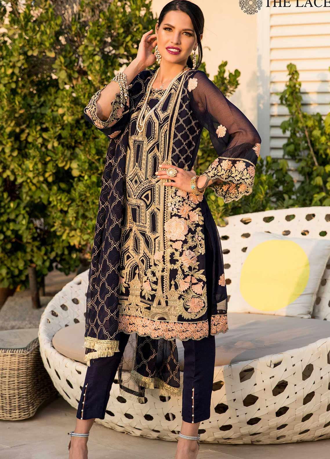 The Lace Embroidered Chiffon Stitched 3 Piece Suit 31 Exotic Blooms