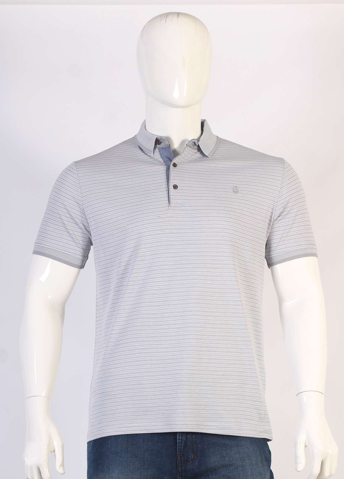 Sanaulla Exclusive Range Jersey Polo Men T-Shirts - Grey TKM18S 361-18